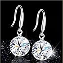 hesapli Küpeler-Kadın's Kristal Damla Küpeler - Som Gümüş, Kristal Mor / Kırmzı / Yeşil Uyumluluk Düğün Parti Günlük
