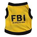 저렴한 강아지 의류 & 악세사리-고양이 강아지 티셔츠 져지 강아지 의류 문자와 숫자 경찰/군인 블랙 / 옐로우 면 코스츔 애완 동물