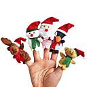 hesapli Makyaj ve Tırnak Bakımı-Noel Santa Suits Elk Kardan adam Parmak Kuklalar Hayvanlar konuşma Karikatür Tekstil Peluş Genç Kız Hediye 5pcs