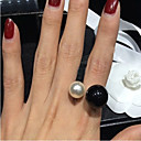 cheap Rings-Women's Statement Ring - Pearl, Imitation Pearl, Resin Birthstones, Open Adjustable White / Black For Wedding Party Daily / Black Pearl / Alloy