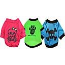 preiswerte Bekleidung & Accessoires für Hunde-Hunde / Katzen - Jede Saison - Baumwolle - Urlaub - Blau / Grün / Dunkelrosa - T-shirt - XS / S / M / L