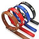 cheap Dog Clothing & Accessories-Dog Collar Adjustable / Retractable PU Leather Black Brown Red Blue