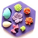 hesapli Fırın Araçları ve Gereçleri-Mini çiçek şeklindeki fondan kek çikolata silikon kalıp kek dekorasyon araçları ilmek kabuk gül, l8.5cm * w7.5cm * h1.3cm