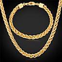 hesapli Bilezikler-u7®twisted halat zincir kolye bilezik 18k altın gerçek erkekler için uzun tıknaz kolye takı seti kaplama
