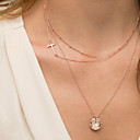 Недорогие Колье и ожерелья-Жен. Слоистые ожерелья - Крест Цвет экрана Ожерелье Бижутерия Назначение