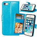 hesapli iPad Kılıfları/Kapakları-Pouzdro Uyumluluk iPhone 5 Apple iPhone 5 Kılıf Kart Tutucu Cüzdan Satandlı Flip Tam Kaplama Kılıf Tek Renk Sert PU Deri için iPhone