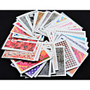 hesapli Makyaj ve Tırnak Bakımı-50pcs water nail stickers Çiçek / Moda Su Transfer Etiketi / 3D Çivi Çıkartmaları Günlük / PVC