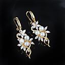 hesapli Bilezikler-Kadın's Damla Küpeler - İnci, Gümüş Kaplama Çiçek Altın Uyumluluk Düğün / Parti / Günlük