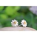 hesapli Küpeler-Kadın's Vidali Küpeler - Som Gümüş, Gümüş Çiçek, Papatya Beyaz / Sarı Uyumluluk Düğün Parti Günlük