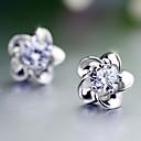 tanie Kolczyki-Kolczyki na sztyft - Perłowy Kwiat Do biura, Kamienie zodiakalne Silver Na