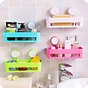 cheap Bathroom Gadgets-1pc Kitchen Bathroom Shelf Wall Rack With 2 Suckers Plastic Shower Caddy Organizer Holder Tray With Suction Cups Lotion Storage