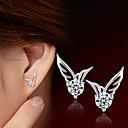 hesapli Küpeler-Kadın's Kübik Zirconia Vidali Küpeler - Som Gümüş, Zirkon, Gümüş Gümüş Uyumluluk Düğün Parti Günlük