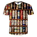 ieftine Bucătărie & Masă-Bărbați Rotund Tricou Activ - #D Imprimeu Alb / Manșon scurt / Vară