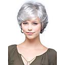 hesapli Bilezikler-Sentetik Peruklar Bukle Bantlı Sentetik Saç Yan Parti / Patlama ile Gri Peruk Kadın's Şort Bonesiz Gümüş