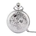 hesapli Erkek Saatleri-Erkek Quartz Cep kol saati Derin Oyma Alaşım Bant İhtişam Gümüş