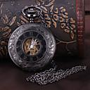 hesapli Saat Aksesuarları-Erkek Cep kol saati mekanik izle Otomatik kendi hareketli Siyah Derin Oyma Analog Lüks - Siyah