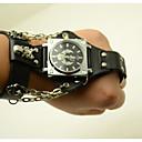 baratos Relógios Femininos-Homens Relógio de Moda Quartzo Couro Banda Analógico Caveira Preta / Marrom - Preto