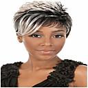 hesapli Makyaj ve Tırnak Bakımı-Sentetik Peruklar Düz / Bukle Sentetik Saç 6 inç Afrp Amerikan Peruk Gri Peruk Kadın's Şort Bonesiz Gri