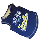 cheap Dog Clothing & Accessories-Dog Shirt / T-Shirt Dog Clothes Letter & Number Blue / Yellow Cotton Costume For Summer