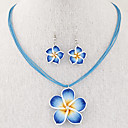 cheap Necklaces-Women's Jewelry Set - Flower Vintage, Fashion, Elegant Include Drop Earrings / Pendant Necklace / Necklace / Earrings Red / Blue / Pink For Wedding / Party / Daily