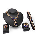 Buy Women's Jewelry Set Sapphire Statement Fashion Elegant Luxury 18K gold Rose Gold Plated 1 Necklace Pair Earrings Bracelet