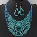 ieftine Brățări-Pentru femei Seturi de bijuterii Colier / cercei Ștrasuri Multistratificat femei Boem European Modă Boho Elegant Reșină cercei Bijuterii Albastru / Roz / Curcubeu Pentru Petrecere Zi de Naștere