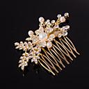 זול תכשיטים לשיער-כסף / זהב מסרק עלה צורה קריסטל פנינה שיער עבור גברת מסיבת חתונה
