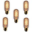 Χαμηλού Κόστους Λαμπτήρες πυράκτωσης-5pcs 40W E26 / E27 T45 Θερμό Λευκό 2300k Ρετρό / Με ροοστάτη / Διακοσμητικό Λαμπτήρας πυρακτώσεως Vintage Edison 220-240V