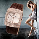 voordelige 2-pins LED-lampen-Dames Luxueuze horloges Polshorloge Diamond Watch Kwarts Leer Zwart / Wit / Zilver 30 m Vrijetijdshorloge imitatie Diamond Analoog Dames Amulet Gesimuleerde Diamond Watch Modieus - Zwart Bruin Rood