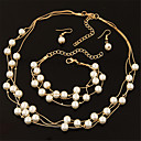 ieftine Seturi de Bijuterii-Pentru femei Perle Seturi de bijuterii Cercei Picătură Lănțișoare Multistratificat Plutire femei Modă Elegant de Mireasă Multistratificat Perle cercei Bijuterii Argintiu / Auriu Pentru Nunt / Coliere