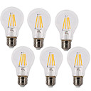 cheap LED Filament Bulbs-6pcs 4W 400lm E26 / E27 LED Filament Bulbs A60(A19) 4 LED Beads COB Waterproof Decorative Warm White Cold White 220-240V