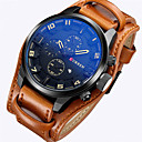 cheap Rings-CURREN Men's Sport Watch Military Watch Wrist Watch Quartz Calendar / date / day Leather Band Analog Luxury Vintage Casual Black / Brown - Brown Red White / Brown Two Years Battery Life
