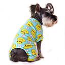 Недорогие Одежда и аксессуары для собак-Кошка Собака Комбинезоны Пижамы Одежда для собак Мультипликация Желтый Красный Синий Розовый Синий -Желтый Хлопок Костюм Для домашних