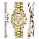Buy Watch Women Fashion Titanium Steel Gold Bracelet Set Rhinestone Quartz Clock Relogio Feminino Montres Femme