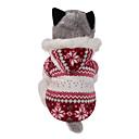 billige Kabler og adaptere-Hund Frakker Hættetrøjer Hundetøj Snefnug Brun Rød Bomuld Kostume Til Vinter Herre Dame Hold Varm Vendbar Jul