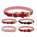 cheap Dog Clothing & Accessories-Cat Dog Collar Adjustable / Retractable Handmade Casual Solid PU Leather Genuine Leather Black Brown Red Pink