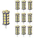 hesapli LED Spot Işıkları-4W G4 LED Bi-pin Işıklar T 30 SMD 5050 360 lm Sıcak Beyaz Serin Beyaz Kısılabilir Dekorotif DC 12 V 10 parça