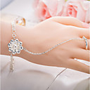billiga Armband-Dam Ringarmband - Sterlingsilver Blomma Kedja, Natur Armband Silver Till Gåva / Valentine