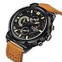 levne Pánské-NAVIFORCE Pánské Sportovní hodinky Vojenské hodinky Náramkové hodinky Křemenný Japonské Quartz Kůže Černá / Orange 30 m Voděodolné Kalendář Cool Analogové Luxus - Černá Oranžová Červená / Nerez