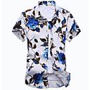رخيصةأون شورتات-رجالي شاطئ بوهو طباعة قميص, ورد ياقة كلاسيكية نحيل / كم قصير / الصيف
