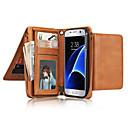 رخيصةأون حافظات / جرابات هواتف جالكسي J-غطاء من أجل Samsung Galaxy S7 edge S7 حامل البطاقات محفظة قلب غطاء كامل للجسم لون الصلبة ناعم جلد أصلي إلى S7 edge S7 S6 edge S6 S5