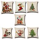 tanie Poduszki-7 szt Cotton / Linen Pokrywa Pillow / Poszewka na poduszkę, Nowość / Modny / Święta Bożego Narodzenia Retro / Tradycyjny / Classic / Euro