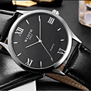 baratos Brincos-Homens Relógio de Pulso Relógio Casual Couro Banda Casual / Fashion Preta