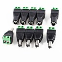 baratos Terminais e Conectores-10 pack 2.1mm x 5.5mm dc plug for led strip cctv camera 5 male e 5 female