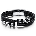 cheap Bracelets-Men's Geometrical Leather Bracelet - Stainless Steel, Leather Vintage, Punk, Rock, Fashion, Hip-Hop Bracelet Jewelry Black For Birthday Training Dailywear Sports Outdoor Athletic Sport