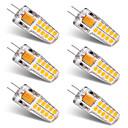preiswerte LED-Kolbenbirnen-BRELONG® 6pcs 3 W 300 lm G4 LED Doppel-Pin Leuchten T 20 LED-Perlen SMD 2835 Warmes Weiß Weiß 12 V / 6 Stück