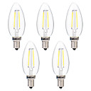 cheap LED Filament Bulbs-BRELONG® 5pcs 2W 200lm E14 LED Filament Bulbs C35 2 LED Beads COB Dimmable Warm White White 220-240V