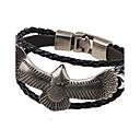 abordables Montres Femme-Bracelets en cuir Homme Femme Plaqué or Aigle Mode Hip-Hop Bijoux Noir Café pour Décontracté Soirée