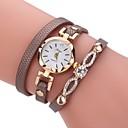 preiswerte Damenuhren-Damen Armband-Uhr Quartz Armbanduhren für den Alltag PU Band Analog Charme Retro Freizeit Schwarz / Weiß / Blau - Braun Rot Blau