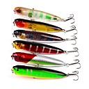 baratos Mosquetões-6 pçs Iscas Popper de Pesca Isco Duro Plástico ABS Pesca de Mar Pesca de Isco e Barco Pesca de Isco